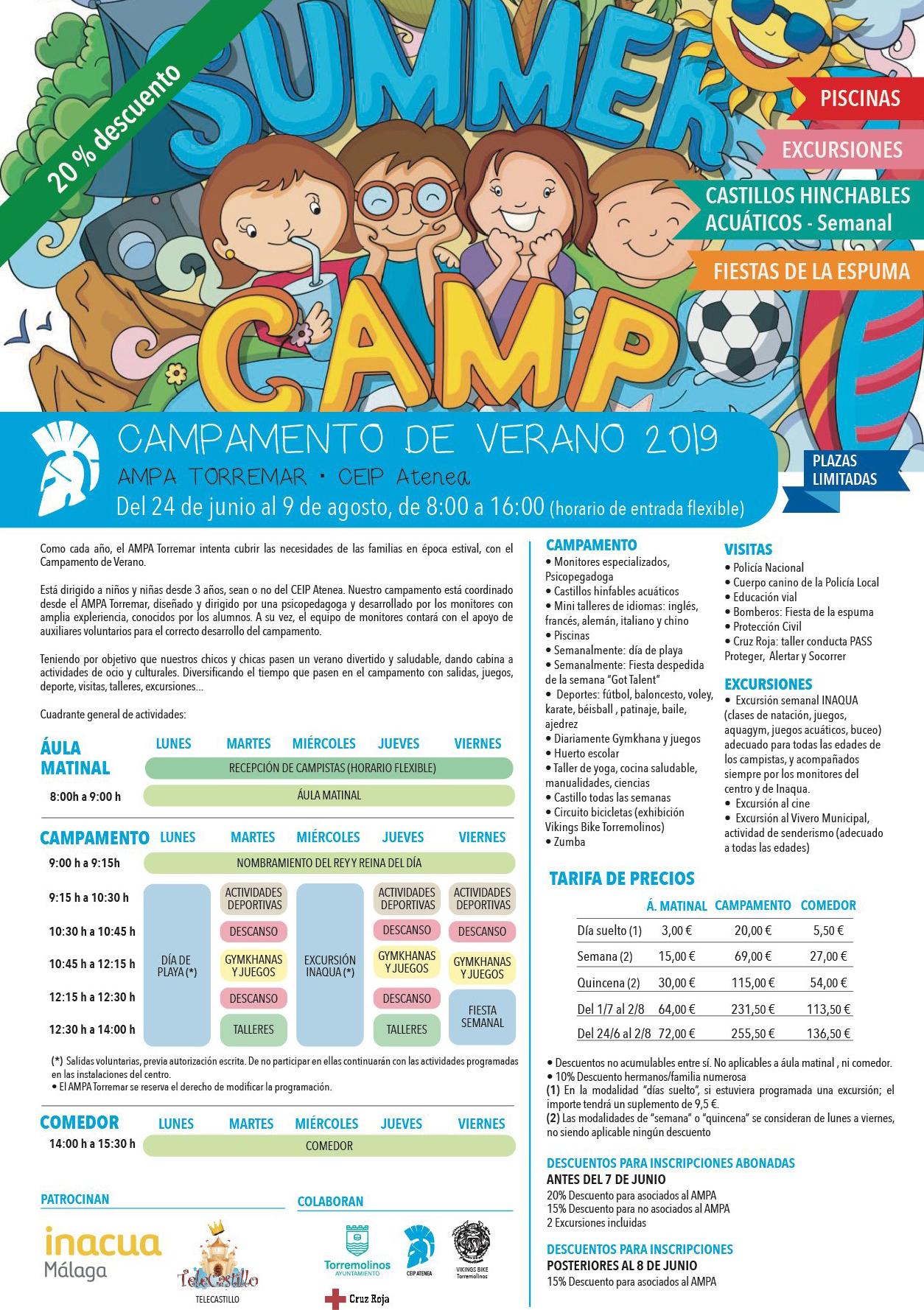 Campamento de Verano 2019. CEIP ATENEA. AMPA TORREMAR